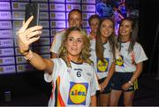 25 May 2018; The 2018 Lidl Teams of the Ladies National Football League awards were presented at Croke Park on Friday, May 25. The best players from the four divisions in the Lidl National Leagues have been selected, following nominations from opposition managers. Players receiving the most votes were selected in their positions on the Lidl Teams of the League. Pictured is Tipperary captain Samantha Lambert taking a photo with her team-mates, from left, Aishling Moloney, Jennifer Grant, Caoimhe Condon, and Maria Curley. Croke Park, Dublin. Photo by Piaras Ó Mídheach/Sportsfile