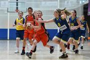26 May 2018;  Kyle Buckley, from Castleisland, Co. Kerry, left, and  Saoirse Reidy, from Kilcock, Co. Kildare, competing in the Basketball U11 & O9 Mixed event during the Aldi Community Games May Festival, which saw over 3,500 children take part in a fun-filled weekend at University of Limerick from 26th to 27th May. Photo by Sam Barnes/Sportsfile