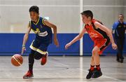26 May 2018;  Chris Idah, from Kilcock, Co. Kildare, left, and Cillian O'Sullivan, from Castleisland, Co. Kerry , competing in the Basketball U11 & O9 Mixed event during the Aldi Community Games May Festival, which saw over 3,500 children take part in a fun-filled weekend at University of Limerick from 26th to 27th May. Photo by Sam Barnes/Sportsfile