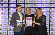 25 May 2018; The 2018 Lidl Teams of the Ladies National Football League awards were presented at Croke Park on Friday, May 25. The best players from the four divisions in the Lidl National Leagues have been selected, following nominations from opposition managers. Players receiving the most votes were selected in their positions on the Lidl Teams of the League. Nicole Owens of Dublin is pictured receiving her Division 1 award from Ladies Gaelic Football Association President, Marie Hickey, and Lidl Ireland Sponsorship Manager, Jay Wilson. Croke Park, Dublin. Photo by Piaras Ó Mídheach/Sportsfile