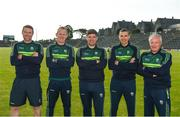 24 May 2018; The Kerry management team, from left to right, Padraig Corcoran, Liam Hassett, manager Eamonn Fitzmaurice, Maurice Fitzgerald, and Mikey Sheehy. Kerry Football Squad Portraits 2018 at Fitzgerald Stadium in Killarney, Co Kerry. Photo by Diarmuid Greene/Sportsfile