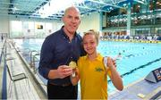 26 May 2018; Cora Rooney, from Ballyshannon, Co. Donegal, right, with Aldi Ambassador Paul O'Connell after winning two gold medals in the Swimming during the Aldi Community Games May Festival, which saw over 3,500 children take part in a fun-filled weekend at University of Limerick from 26th to 27th May. Photo by Sam Barnes/Sportsfile