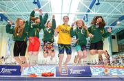 26 May 2018; Girls 10-13 100m Freestyle Relay winners, from left, Tara Cronin, Anu Hayes Breheny, Holly Arthur, Alla O'Neill, Ciara Harrington and Julia Salvado McCormac from Kenmare, Co. Kerry during the Aldi Community Games May Festival, which saw over 3,500 children take part in a fun-filled weekend at University of Limerick from 26th to 27th May. Photo by Sam Barnes/Sportsfile