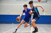 26 May 2018; Turlough Farrelly from Oranmore, Co. Galway, left, and Matthew Ford, from Cuchulainns, Co. Cavan, competing in the Basketball U16 & O13 Boys event during the Aldi Community Games May Festival, which saw over 3,500 children take part in a fun-filled weekend at University of Limerick from 26th to 27th May. Photo by Sam Barnes/Sportsfile
