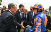 26 May 2018; Trainer Aidan O'Brien, second from left, and jockey Ryan Moore after winning The Irish Stallion Farms EBF Fillires Maiden Race on Winning Connections during the Curragh Races Irish 2000 Guineas Day at the Curragh in Kildare. Photo by Ray McManus/Sportsfile
