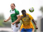 26 May 2018; Noel O'Donnell of Ireland in action against Romel Belcher of Sweden during the European Deaf Sport Organization European Championships third qualifying round match between Ireland and Sweden at the FAI National Training Centre in Abbotstown, Dublin. Photo by Stephen McCarthy/Sportsfile