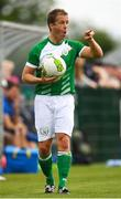 26 May 2018; Darren Dunne of Ireland communicates to team-mates before taking a throw-in during the European Deaf Sport Organization European Championships third qualifying round match between Ireland and Sweden at the FAI National Training Centre in Abbotstown, Dublin. Photo by Stephen McCarthy/Sportsfile