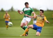 26 May 2018; Jason Maguire of Ireland is tackled by Albert Boklund of Sweden during the European Deaf Sport Organization European Championships third qualifying round match between Ireland and Sweden at the FAI National Training Centre in Abbotstown, Dublin. Photo by Stephen McCarthy/Sportsfile