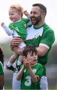 26 May 2018; Patrick Maher of Ireland and son Adam prior to the European Deaf Sport Organization European Championships third qualifying round match between Ireland and Sweden at the FAI National Training Centre in Abbotstown, Dublin. Photo by Stephen McCarthy/Sportsfile