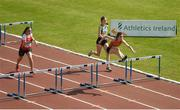 26 May 2018; Laura Frawley of St. Marys A.C., Co. Limerick, right, competing in the 80m Hurdles as part of the Girls U15 Multi Events  during the Irish Life Health Combined Events Day 1 at Morton Stadium, in Santry, Dublin. Photo by Harry Murphy/Sportsfile