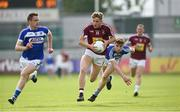 26 May 2018; Luke Loughlin of Westmeath in action against Paul Kingston and Trevor Collins of Laois during the Leinster GAA Football Senior Championship Quarter-Final match between Laois and Westmeath at Bord na Mona O'Connor Park in Tullamore, Offaly. Photo by Matt Browne/Sportsfile