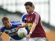 26 May 2018; John Connellan of Westmeath in action against Kieran Lillis of Laois during the Leinster GAA Football Senior Championship Quarter-Final match between Laois and Westmeath at Bord na Mona O'Connor Park in Tullamore, Offaly. Photo by Matt Browne/Sportsfile