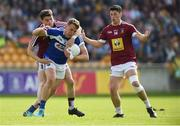 26 May 2018; Stephen Attride of Laois  in action against John Connellan and Ronan O'Toole of Westmeath during the Leinster GAA Football Senior Championship Quarter-Final match between Laois and Westmeath at Bord na Mona O'Connor Park in Tullamore, Offaly. Photo by Matt Browne/Sportsfile
