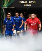 26 May 2018; Team captains Isa Nacewa of Leinster and Ken Owens of Scarlets lead their sides out ahead of the Guinness PRO14 Final between Leinster and Scarlets at the Aviva Stadium in Dublin. Photo by Ramsey Cardy/Sportsfile