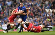 26 May 2018; James Ryan of Leinster is tackled by Lewis Rawlins, left, and Aaron Shingler of Scarlets during the Guinness PRO14 Final between Leinster and Scarlets at the Aviva Stadium in Dublin. Photo by Ramsey Cardy/Sportsfile