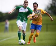 26 May 2018; David Murray of Ireland in action against Oliver Rasinaho of Sweden during the European Deaf Sport Organization European Championships third qualifying round match between Ireland and Sweden at the FAI National Training Centre in Abbotstown, Dublin. Photo by Stephen McCarthy/Sportsfile