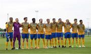 26 May 2018; The Sweden team during the national anthem prior to the European Deaf Sport Organization European Championships third qualifying round match between Ireland and Sweden at the FAI National Training Centre in Abbotstown, Dublin. Photo by Stephen McCarthy/Sportsfile