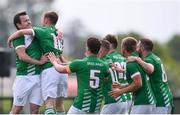 26 May 2018; David Murray, second from left, celebrates with his Ireland team-mates, including Joseph Watson, left, after scoring his side's first goal during the European Deaf Sport Organization European Championships third qualifying round match between Ireland and Sweden at the FAI National Training Centre in Abbotstown, Dublin. Photo by Stephen McCarthy/Sportsfile