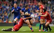 26 May 2018; James Lowe of Leinster is tackled by Lewis Rawlins of Scarlets during the Guinness PRO14 Final between Leinster and Scarlets at the Aviva Stadium in Dublin. Photo by Ramsey Cardy/Sportsfile