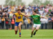26 May 2018; Enda Smith of Roscommon in action against Ryan O'Rourke of Leitrim during the Connacht GAA Football Senior Championship semi-final match between Leitrim and Roscommon at Páirc Seán Mac Diarmada in Carrick-on-Shannon, Leitrim. Photo by Piaras Ó Mídheach/Sportsfile