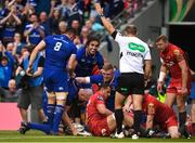 26 May 2018; Devin Toner of Leinster is congratulated by team mates Jack Conan, left, James Lowe, centre, and Dan Leavy after scoring his side's first try during the Guinness PRO14 Final between Leinster and Scarlets at the Aviva Stadium in Dublin. Photo by David Fitzgerald/Sportsfile