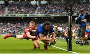 26 May 2018; James Lowe of Leinster scores his side's second try during the Guinness PRO14 Final between Leinster and Scarlets at the Aviva Stadium in Dublin. Photo by Ramsey Cardy/Sportsfile