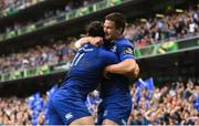 26 May 2018; Jonathan Sexton of Leinster congratulates James Lowe, left, after he scored their second try during the Guinness PRO14 Final between Leinster and Scarlets at the Aviva Stadium in Dublin. Photo by Ramsey Cardy/Sportsfile