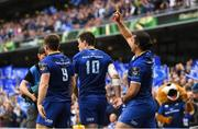 26 May 2018; James Lowe of Leinster celebrates after scoring his side's second try during the Guinness PRO14 Final between Leinster and Scarlets at the Aviva Stadium in Dublin. Photo by Ramsey Cardy/Sportsfile