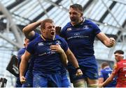 26 May 2018; Sean Cronin of Leinster celebrates with Jack Conan, right, after scoring his side's third try during the Guinness PRO14 Final between Leinster and Scarlets at the Aviva Stadium in Dublin. Photo by Ramsey Cardy/Sportsfile