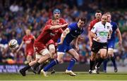 26 May 2018; Jonathan Sexton of Leinster offloads the ball as he is tackled by James Davies of Scarlets during the Guinness PRO14 Final between Leinster and Scarlets at the Aviva Stadium in Dublin. Photo by David Fitzgerald/Sportsfile