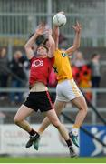 26 May 2018; Anthony Doherty of Down in action against Matthew Fitzpatrick of Antrim during the Ulster GAA Football Senior Championship Quarter-Final match between Down and Antrim at Pairc Esler in Newry, Down. Photo by Oliver McVeigh/Sportsfile