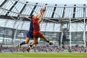 26 May 2018; Steff Evans of Scarlets in action against Jordan Larmour of Leinster during the Guinness PRO14 Final between Leinster and Scarlets at the Aviva Stadium in Dublin. Photo by Ramsey Cardy/Sportsfile