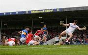 26 May 2018; Mark White of Cork makes a save from a shot by Michael Quinlivan of Tipperary during the Munster GAA Football Senior Championship semi-final match between Tipperary and Cork at Semple Stadium in Thurles, County Tipperary. Photo by Eóin Noonan/Sportsfile