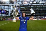 26 May 2018; James Lowe celebrates with the Guinness Pro14 trophy and the Champions Cup following the Guinness PRO14 Final match between Leinster and Scarlets at the Aviva Stadium in Dublin. Photo by Ramsey Cardy/Sportsfile