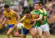 26 May 2018; John McManus of Roscommon, supported by team-mate Diarmuid Murtagh in action against Ryan O'Rourke and Paddy Maguire, behind, of Leitrim, during the Connacht GAA Football Senior Championship semi-final match between Leitrim and Roscommon at Páirc Seán Mac Diarmada in Carrick-on-Shannon, Leitrim. Photo by Piaras Ó Mídheach/Sportsfile