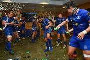 26 May 2018; Isa Nacewa and his Leinster team-mates celebrate with the trophy in the Leinster dressing room after the Guinness PRO14 Final match between Leinster and Scarlets at the Aviva Stadium in Dublin. Photo by Ramsey Cardy/Sportsfile