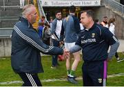26 May 2018; Offaly manager Kevin Martin congratulates Wexford manager Davy Fitzgerald after the Leinster GAA Hurling Senior Championship Round 3 match between Offaly and Wexford at Bord na Mona O'Connor Park in Tullamore, Offaly. Photo by Matt Browne/Sportsfile