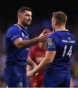 26 May 2018; Rob Kearney of Leinster, left, celebrates with team mate Jordan Larmour at the final whistle following the Guinness PRO14 Final between Leinster and Scarlets at the Aviva Stadium in Dublin. Photo by David Fitzgerald/Sportsfile