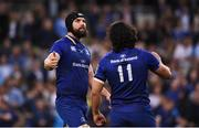 26 May 2018; Scott Fardy, left, and James Lowe of Leinster celebrate following the Guinness PRO14 Final between Leinster and Scarlets at the Aviva Stadium in Dublin. Photo by David Fitzgerald/Sportsfile