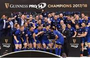 26 May 2018; Isa Nacewa lifts the trophy for Leinster following the Guinness PRO14 Final between Leinster and Scarlets at the Aviva Stadium in Dublin. Photo by Seb Daly/Sportsfile
