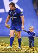 26 May 2018; Sean Cronin of Leinster with his son Finn following the Guinness PRO14 Final between Leinster and Scarlets at the Aviva Stadium in Dublin. Photo by David Fitzgerald/Sportsfile