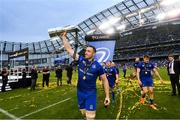 26 May 2018; Jack Conan of Leinster celebrates with the trophy after the Guinness PRO14 Final match between Leinster and Scarlets at the Aviva Stadium in Dublin. Photo by Ramsey Cardy/Sportsfile
