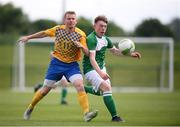 26 May 2018; Jake Cassidy of Ireland and Peter Delin of Sweden during the European Deaf Sport Organization European Championships third qualifying round match between Ireland and Sweden at the FAI National Training Centre in Abbotstown, Dublin. Photo by Stephen McCarthy/Sportsfile