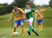 26 May 2018; Oliver Rasinaho of Sweden in action against Jake Cassidy of Ireland during the European Deaf Sport Organization European Championships third qualifying round match between Ireland and Sweden at the FAI National Training Centre in Abbotstown, Dublin. Photo by Stephen McCarthy/Sportsfile