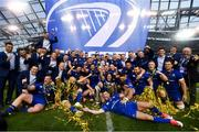 26 May 2018; Leinster players celebrate with the trophy after the Guinness PRO14 Final match between Leinster and Scarlets at the Aviva Stadium in Dublin. Photo by Ramsey Cardy/Sportsfile