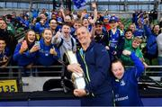 26 May 2018; Leinster senior coach Stuart Lancaster celebrates with the trophy and Leinster supporters after the Guinness PRO14 Final match between Leinster and Scarlets at the Aviva Stadium in Dublin. Photo by Ramsey Cardy/Sportsfile