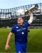 26 May 2018; Tadhg Furlong of Leinster celebrates with the trophy after the Guinness PRO14 Final match between Leinster and Scarlets at the Aviva Stadium in Dublin. Photo by Ramsey Cardy/Sportsfile