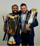 26 May 2018; Isa Nacewa, left, and Fergus McFadden of Leinster with the Champions Cup and PRO14 trophies following the Guinness PRO14 Final between Leinster and Scarlets at the Aviva Stadium in Dublin. Photo by Ramsey Cardy/Sportsfile
