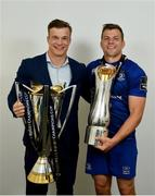 26 May 2018; Josh van der Flier, left, and Jordi Murphy of Leinster with the Champions Cup and PRO14 trophies following the Guinness PRO14 Final between Leinster and Scarlets at the Aviva Stadium in Dublin. Photo by Ramsey Cardy/Sportsfile