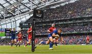 26 May 2018; Jordan Larmour of Leinster scores his side's fourth try during the Guinness PRO14 Final between Leinster and Scarlets at the Aviva Stadium in Dublin. Photo by Ramsey Cardy/Sportsfile
